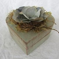 Heart Shaped Wedding Ring Box Shabby Chic Rustic Vintage ring pillow Alternative