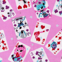 HALF YARD - Glitter Lolita Alice in Wonderland Playing Cards Pink- Petit Diable - Cat, Skulls, Sword, Watch, Mirror - Cosmo Textile Japanese