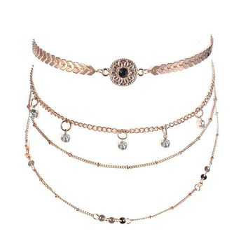 Gift Shiny Jewelry New Arrival Stylish Accessory Alloy Chain Rhinestone Set Necklace [30852055060]