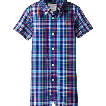 Ralph Lauren Baby Yarn-Dyed Oxford Plaid Shortalls (Infant) Blue/Orange Multi - Zappos.com Free Shipping BOTH Ways