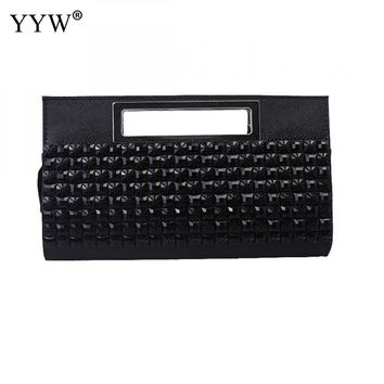 2018 Diamonds Rhinestone Plaid Clutches Hangbags For Women Portable Softbags Clutch Bags Lady Black Gold Sliver Evening Purse