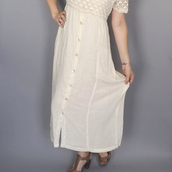 Size 12 Vintage 1990s Romantic Rayon Cotton Sundress Crochet Lace Maxi Dress Beach Wedding Large Hipster Boho Grunge Simple Wedding Folk
