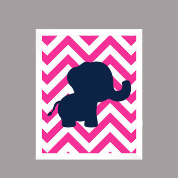 Navy Elephant on Hot Pink Chevron Animal Nursery Decor Baby Girl CUSTOMIZE YOUR COLORS 8x10 Prints Nursery Decor Art Baby Room Decor Kids
