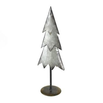 Galvanized Metal Christmas Tree Table Decor, Silver, 16-1/2-Inch