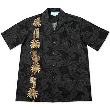 old hawaii black hawaiian border shirt