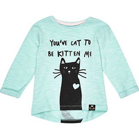 River Island Mini girls green cat print t-shirt