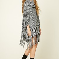 Fringed Abstract Poncho