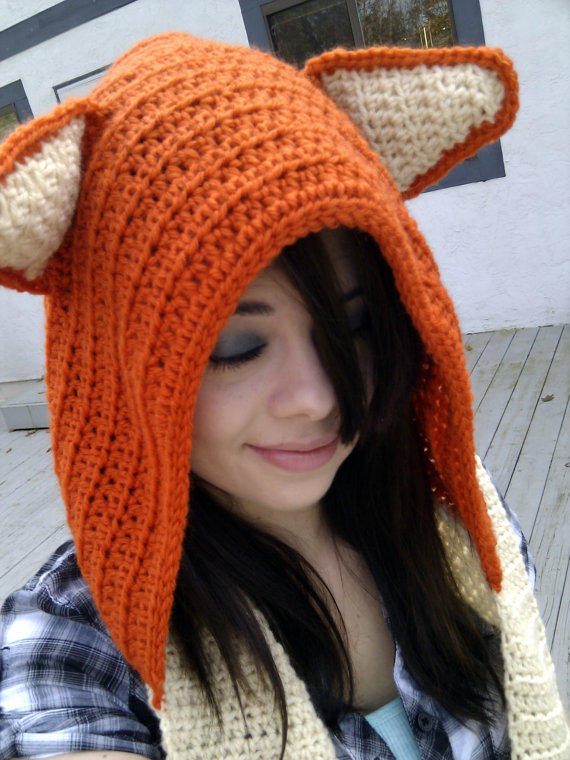 Crochet Wool Fox Scoodie Made To Order By From Simpleknots On