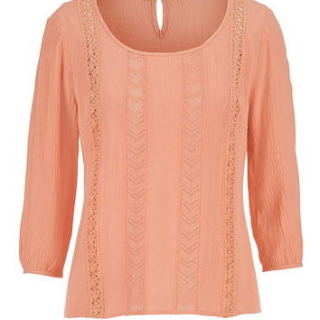 peasant top with lace and keyhole back