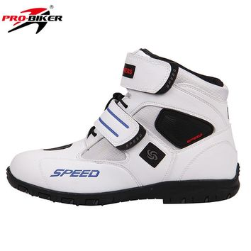 PRO-BIKER Breathable Motorcycle Boots Moto Shoes Motorcycle Non-slip Riding Racing Motocross PU Leather Shoes for Men Women