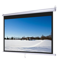 "72""-119"" Optional Ratio Manual Pull Down Projector Projection Screen Matte White"