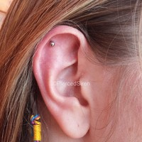 16g Straight barbell ball back earring forward helix tragus cartilage post stud silver titanium internal threaded body piercing jewelry 1/4