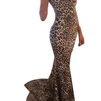 Sexy Womens Leopard Strapless Bodycon Gown Mermaid Fishtail Tube Maxi Dress