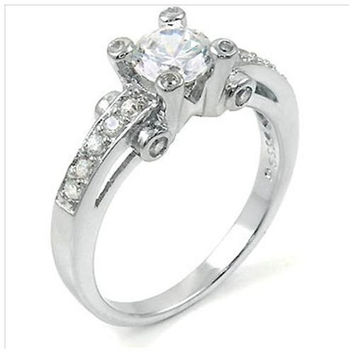 Sterling Silver 1 carat Round Cut CZ Vintage Style Engagement Ring size 5-9