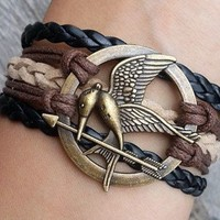 Hunger games letty retro inspired Mockingjay bird bracelet,Deathly Hallows Bracelet, Katniss's arrow-Best Chosen Gift, WHOLESALE SUPPORTED