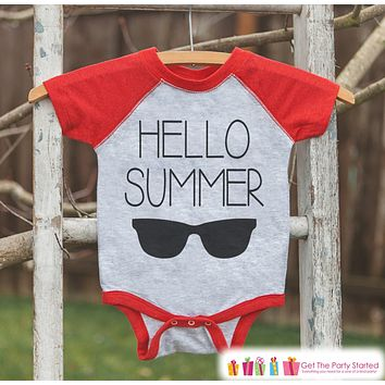 Hello Summer Sunglasses Onepiece or Raglan - Summer Outfit For Kids - Red Baseball Tee - Fun Summer Outfit for Baby, Youth, Toddler