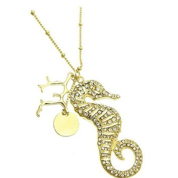Clear Charm Sea Horse Necklace
