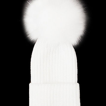 Fox Fur Pom Pom Beanie, Vintage Knit Hat - White