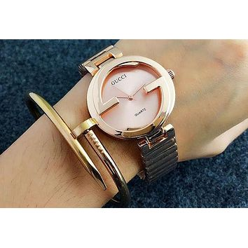 GUCCI Women Men Fashion Quartz Watches Wrist Watch Rose gold