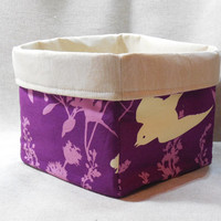 Pretty Purple and Cream Fabric Basket