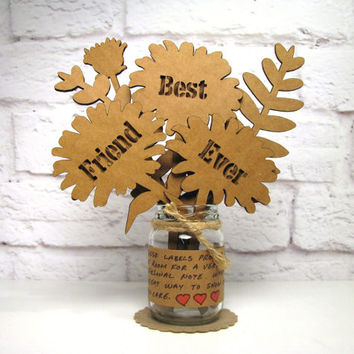 BEST FRIEND EVER Corrugated Cardboard Flowers Bouquet In Mini Mason Jar Great Gift Idea