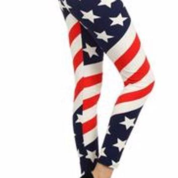 Women's 4th of July Leggings American Flag Red/White/Blue: OS/PLUS
