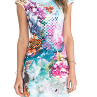 Multicolor Floral Short Sleeve Bodycon Mini Dress - Choies.com