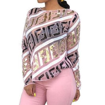 FENDI Hot Sale Women Sexy F Letter Sequined Long Sleeve T-Shirt Top