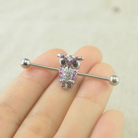 industrial barbell,owl industrial barbell,14g,friendship earring