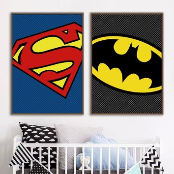 Superhero Batman Superman Wall Art Print Canvas Painting Baby Boy Nordic Posters And Prints Wall Pictures For Kids Bedroom Decor