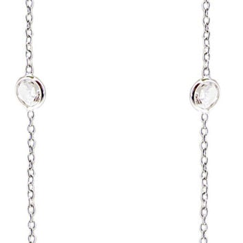 Diamond By the Yard 10 station round bezel set cubic zirconia stones hung from a 16''+2'' necklace, finished in sterling silver