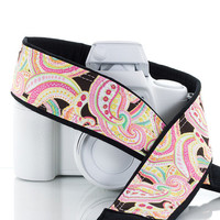 dSLR Camera Strap, Pink Paisley, Camera Neck Strap, Canon strap, Nikon Camera Strap, Pocket, SLR, 42 a