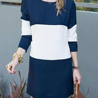 Navy Blue Color Block Long Sleeve Shift Dress