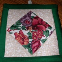 PATCHWORK Pot Holder - Quilted Floral Diamond 7.25 in square - from TessieTextile