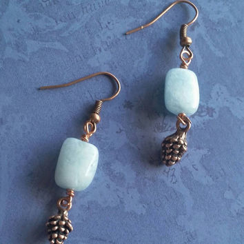 Green earrings, Amazonite earrings, Copper earrings, Pinecone earrings, teal earrings
