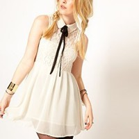 Hearts & Bows Chiffon Lace Skater Dress with Ribbon Bow Tie at asos.com