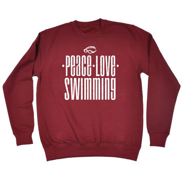 123t USA Peace Love Swimming Funny Sweatshirt
