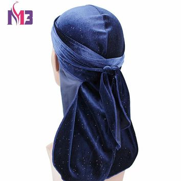 New Fashion Men's Shiny Velvet Durags Bandana Turban Wigs Men Durag Headwear Headband Pirate Hat Hair Accessories