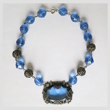 Antique Blue Czech Glass Necklace with Facet Cut and Carved Beads, Filigree Metal Beads and Tiny Enamel Flowers