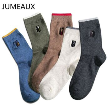 JUMEAUX Men's Socks Casual Cotton Tube Socks High Quality Golf Embroidery Socks Breathable Socks Gifts For Male Autumn Winter