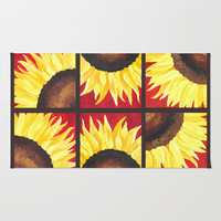 Sunflower on Red #3 Area & Throw Rug by nJoyArt