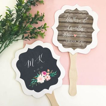 Personalized Floral Garden Paddle Fans (Set of 24)