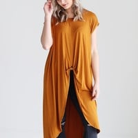 Gold PIKO Knotted High-Low Top
