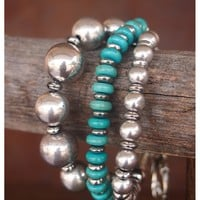 West and Co. Women's 3 Strand Silver and Turquoise Bead Toggle Bracelet