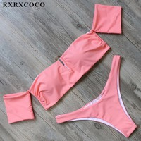 RXRXCOCO Sexy Brazilian Bikini Set Women Bandeau Swimsuit Padded Off Shoulder Swimwear Female Low Waist Bikini Swimming Suit