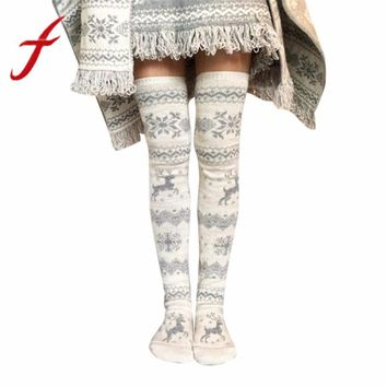 Feitong Women Christmas Socks Winter Warm Knitted Thigh High Long Stockings Kniting Over Knee Socks Xmas Long Socks Female 2017