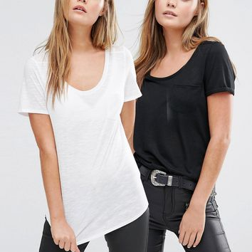 New Look 2 Pack Pocket Front T-Shirt