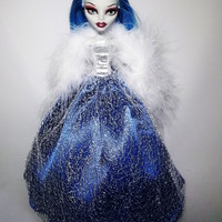 Handmade Monster High Dress Gown Blue with Silver Mesh and Boa