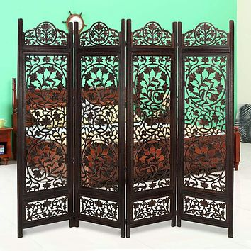 Handcrafted Wooden 4 Panel Room Divider Screen Featuring Lotus Pattern-Reversible-Brown