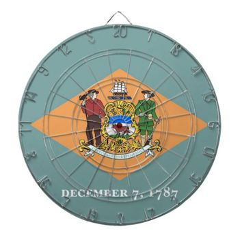 Dartboard with Flag of Delaware, USA